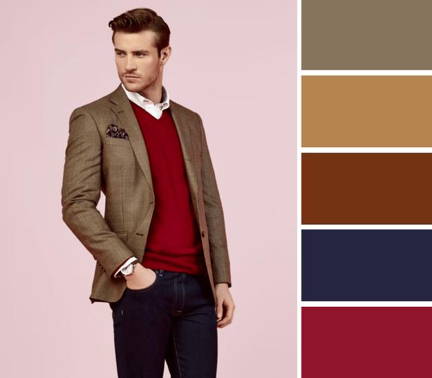 cómo combinar colores cálidos de ropa para hombre